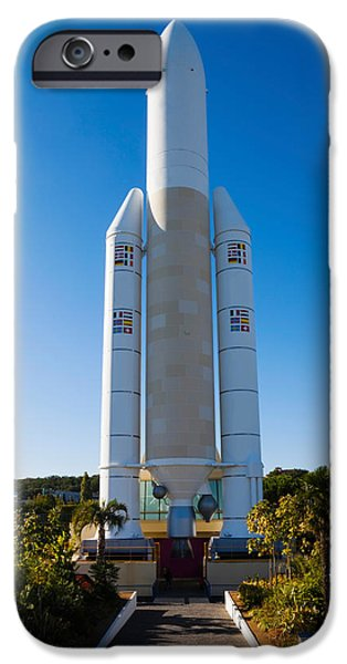 Technology iPhone Cases - Ariane 5 French Space Rocket At Cite De iPhone Case by Panoramic Images