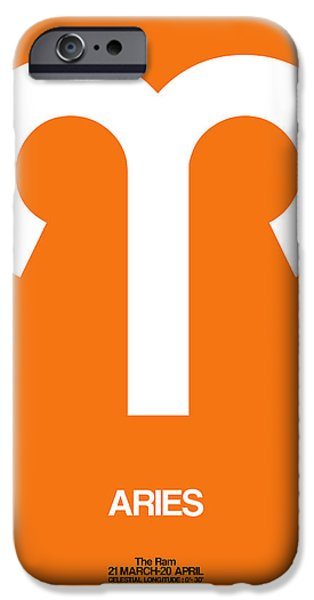 Aquarius iPhone Cases - Aries Zodiac Sign White on Orange iPhone Case by Naxart Studio