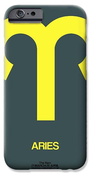 Aquarius iPhone Cases - Aries Zodiac Sign Yellow iPhone Case by Naxart Studio