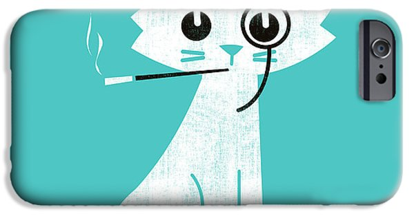 Smoking iPhone Cases - Aristo cat iPhone Case by Budi Satria Kwan