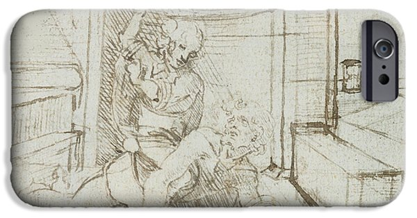 Preparatory Study iPhone Cases - Aristotle and Phyllis iPhone Case by Leonardo Da Vinci