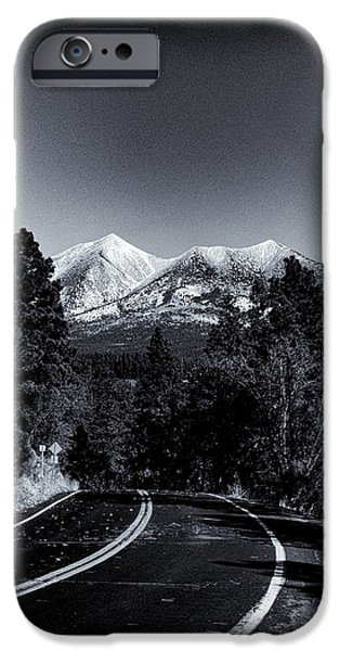 Hopi iPhone Cases - Arizona Country Road in Black and White iPhone Case by Joshua House
