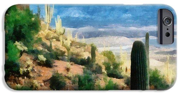 Soil Digital Art iPhone Cases - Arizona Desert Heights iPhone Case by Michelle Calkins