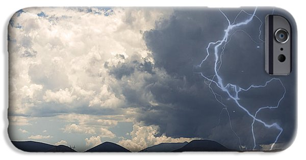 Recently Sold -  - Raining iPhone Cases - Arizona Desert Lightning  iPhone Case by Janice Rae Pariza