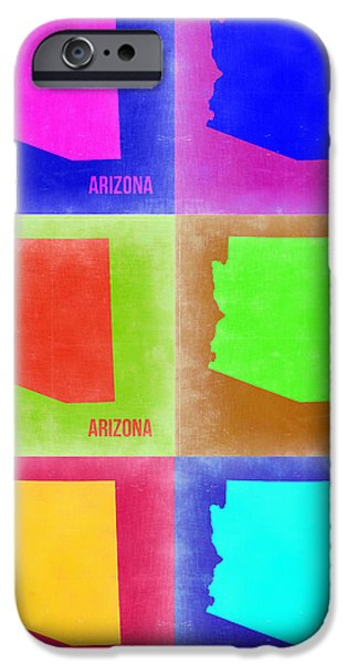 Arizona iPhone Cases - Arizona Pop Art Map 2 iPhone Case by Naxart Studio