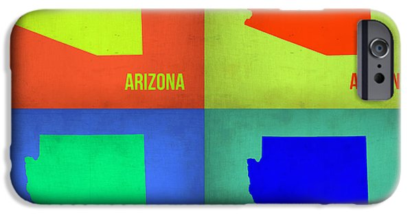 Arizona iPhone Cases - Arizona Pop Art Map 3 iPhone Case by Naxart Studio