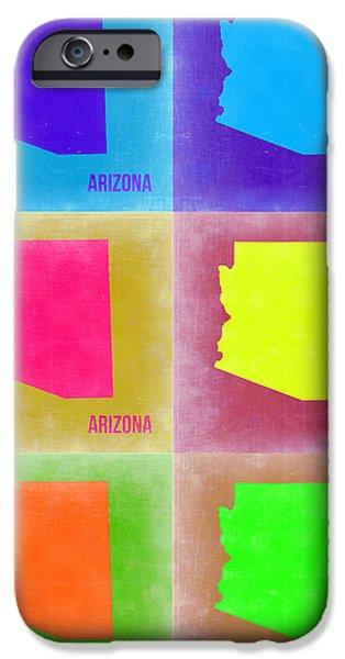 Arizona iPhone Cases - Arizona Pop Art Map 4 iPhone Case by Naxart Studio