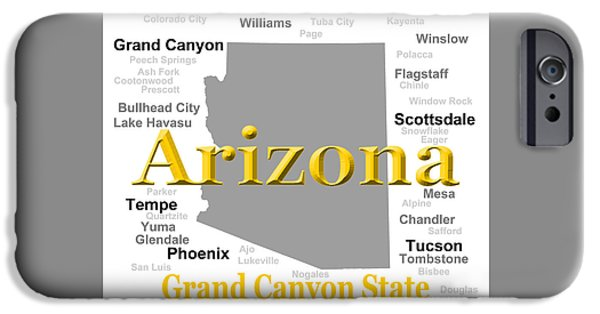 Grand Canyon Digital Art iPhone Cases - Arizona State Pride Map Silhouette  iPhone Case by Keith Webber Jr