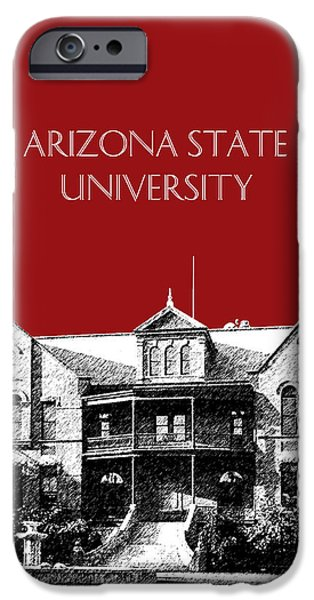 Pen And Ink iPhone Cases - Arizona State University - The Old Main Building - Dark Red iPhone Case by DB Artist