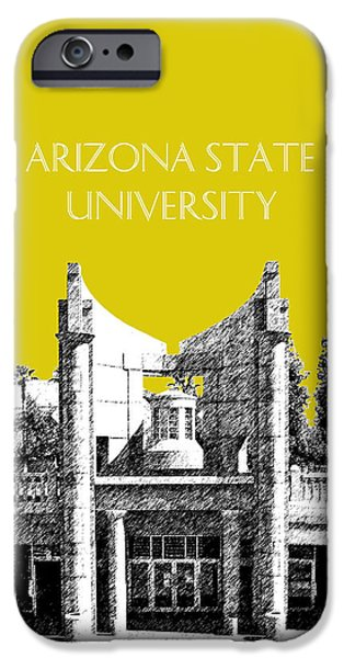 Pen And Ink iPhone Cases - Arizona State University 2 - Hayden Library - Mustard Yellow iPhone Case by DB Artist