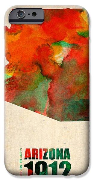 Decoration iPhone Cases - Arizona Watercolor Map iPhone Case by Naxart Studio
