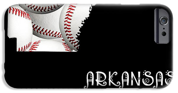 Arkansas iPhone Cases - Arkansas Loves Baseball iPhone Case by Andee Design