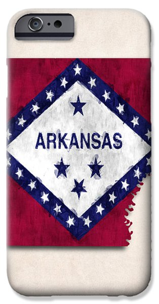 Arkansas iPhone Cases - Arkansas Map Art with Flag Design iPhone Case by World Art Prints And Designs