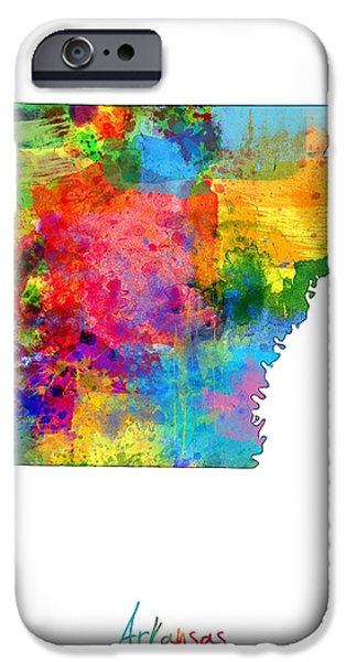 Arkansas iPhone Cases - Arkansas Map iPhone Case by Michael Tompsett