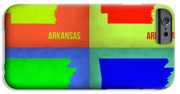 Arkansas iPhone Cases - Arkansas Pop Art Map 1 iPhone Case by Naxart Studio