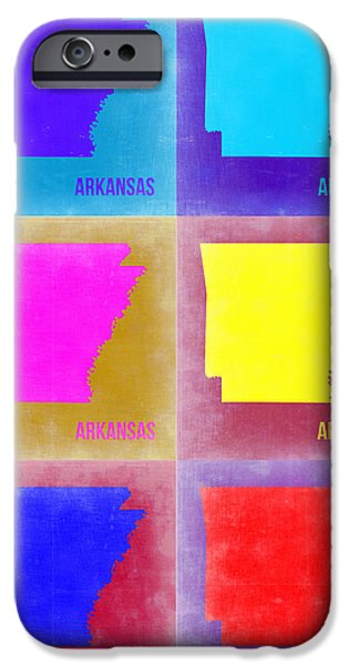 Arkansas iPhone Cases - Arkansas Pop Art Map 2 iPhone Case by Naxart Studio