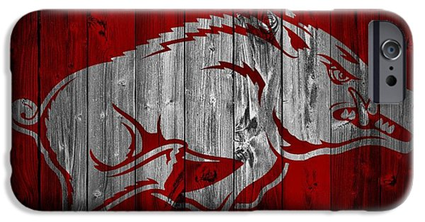Man Cave Mixed Media iPhone Cases - Arkansas Razorbacks Barn Door iPhone Case by Dan Sproul