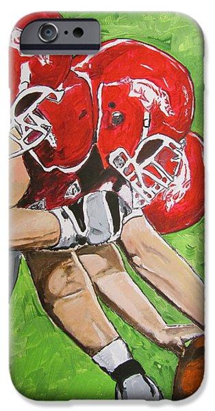 Arkansas Razorbacks Football iPhone Case by Carol Blackhurst
