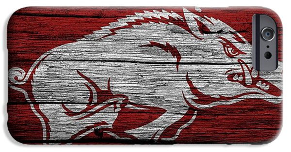 Man Cave Mixed Media iPhone Cases - Arkansas Razorbacks On Wood iPhone Case by Dan Sproul