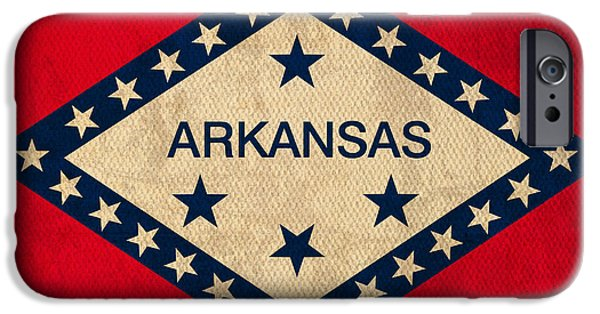 Arkansas iPhone Cases - Arkansas State Flag Art on Worn Canvas iPhone Case by Design Turnpike