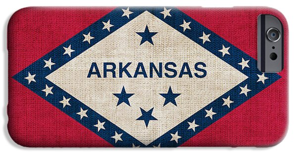 Arkansas iPhone Cases - Arkansas State flag iPhone Case by Pixel Chimp