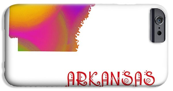 Arkansas iPhone Cases - Arkansas State Map Collection 2 iPhone Case by Andee Design