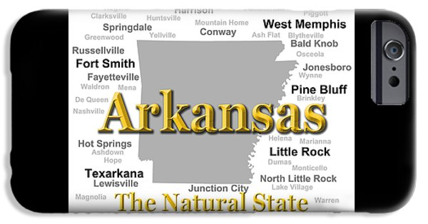 Arkansas iPhone Cases - Arkansas State Pride Map Silhouette  iPhone Case by Keith Webber Jr
