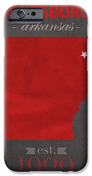 Arkansas Mixed Media iPhone Cases - Arkansas State University Red Wolves Jonesboro College Town State Map Poster Series No 014 iPhone Case by Design Turnpike