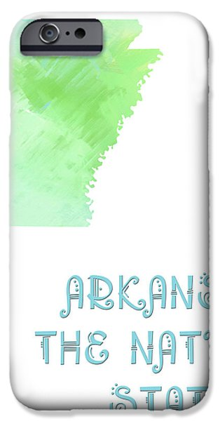 Arkansas - The Natural State - Map - State Phrase - Geology iPhone Case by Andee Design