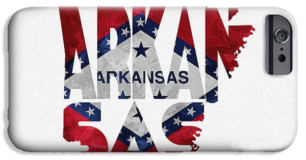 Arkansas Mixed Media iPhone Cases - Arkansas Typographic Map Flag iPhone Case by Ayse Deniz
