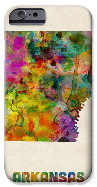 Arkansas iPhone Cases - Arkansas Watercolor Map iPhone Case by Michael Tompsett
