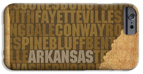 Arkansas Mixed Media iPhone Cases - Arkansas Word Art State Map on Canvas iPhone Case by Design Turnpike