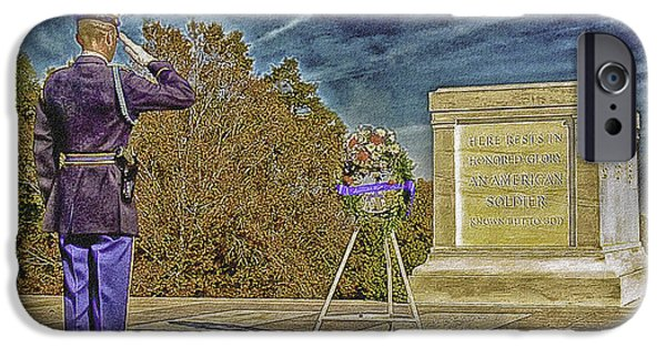 Cemetary Mixed Media iPhone Cases - Arlington Cemetery Tomb of The Unknowns iPhone Case by  Bob and Nadine Johnston