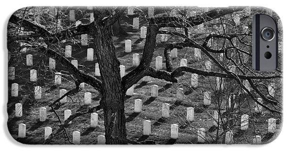 Recently Sold -  - Headstones iPhone Cases - Arlington Cemetery with Tree iPhone Case by Lane Erickson