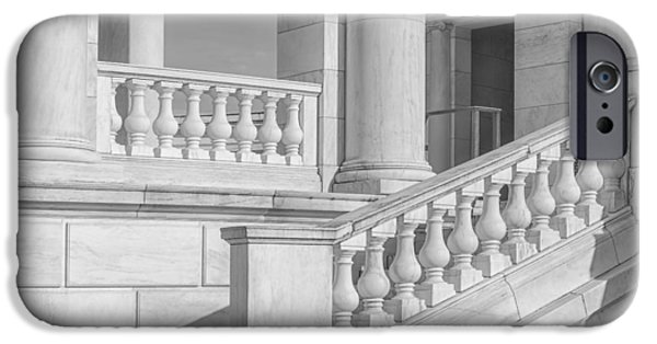 D.c. iPhone Cases - Arlington Memorial Amphitheater  BW iPhone Case by Susan Candelario