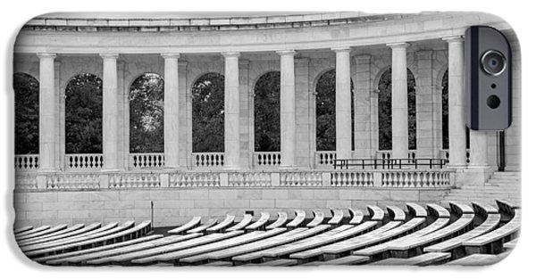 D.c. iPhone Cases - Arlington Memorial Cemetery Amphitheater  BW iPhone Case by Susan Candelario