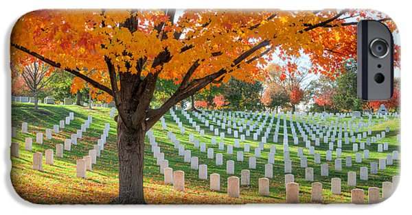 D.c. iPhone Cases - Arlington National Cemetery in Autumn I iPhone Case by Clarence Holmes