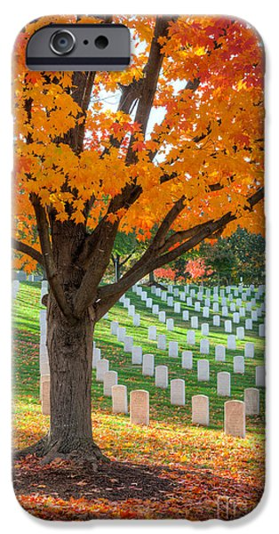 D.c. iPhone Cases - Arlington National Cemetery in Autumn II iPhone Case by Clarence Holmes