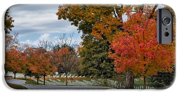 D.c. iPhone Cases - Arlington National Cemetery In Autumn iPhone Case by Susan Candelario