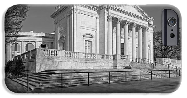 D.c. iPhone Cases - Arlington National Memorial Amphitheater BW iPhone Case by Susan Candelario