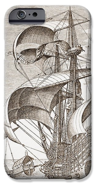Sailing Drawings iPhone Cases - Armed Three-master On The Open Sea iPhone Case by Pieter the Elder Bruegel