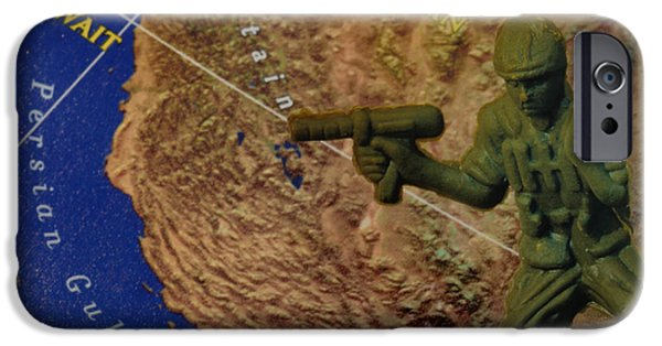 Armed Services iPhone Cases - Armed Toy Solider with Middle East Map iPhone Case by Amy Cicconi