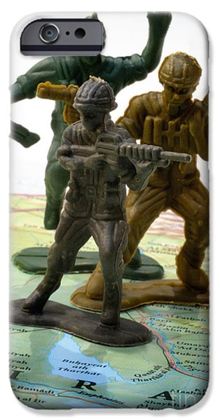 Armed Services iPhone Cases - Armed Toy Soliders on Iraq Map iPhone Case by Amy Cicconi