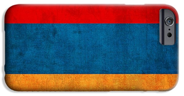 Nation iPhone Cases - Armenia Flag Vintage Distressed Finish iPhone Case by Design Turnpike