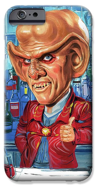 Science Paintings iPhone Cases - Armin Shimerman as Quark iPhone Case by Art