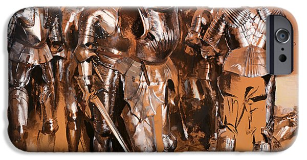 Weapon Drawings iPhone Cases - Armor Chamber Fantasy iPhone Case by Adolph Menzel