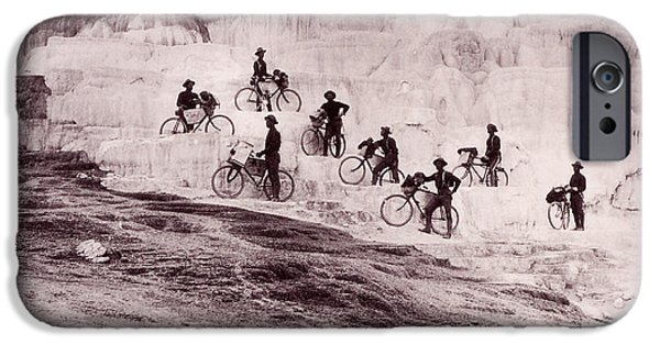 Mammoth Terrace iPhone Cases - Army Bicyclists Mammoth Hot Springs iPhone Case by NPS Photo