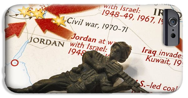 Jordan iPhone Cases - Army Man lying on Middle East Conflicts Map iPhone Case by Amy Cicconi