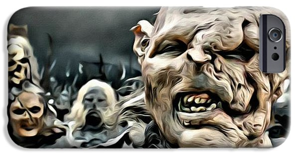 Portrait Of Evil iPhone Cases - Army of Orcs iPhone Case by Florian Rodarte