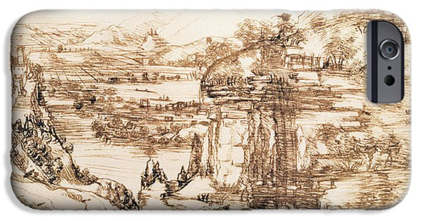 Renaissance iPhone Cases - Arno Landscape iPhone Case by Leonardo da Vinci